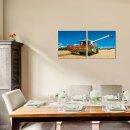 Mähdrescher 50x50cm 2 Glasbilder Glasbild Echtglas Wandbild Deko