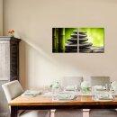 Steine 50x50cm 2 Glasbilder Glasbild Echtglas Wandbild Deko