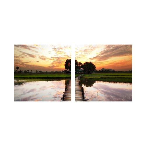 Steg 50x50cm 2 Glasbilder Glasbild Echtglas Wandbild Deko