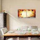 Blatt 50x50cm 2 Glasbilder Glasbild Echtglas Wandbild Deko