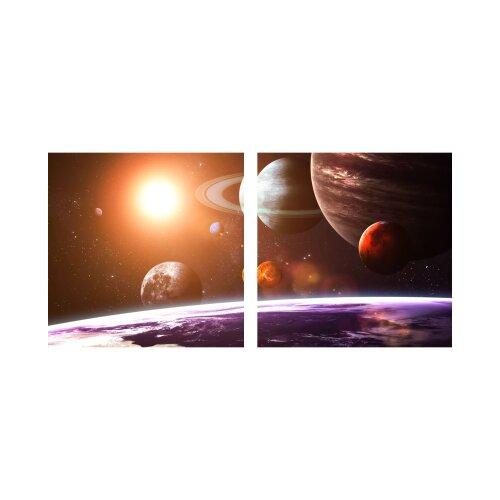 Planeten 50x50cm 2 Glasbilder Glasbild Echtglas Wandbild Deko