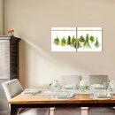 Kraut 50x50cm 2 Glasbilder Glasbild Echtglas Wandbild Deko