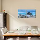 Fels 50x50cm 2 Glasbilder Glasbild Echtglas Wandbild Deko