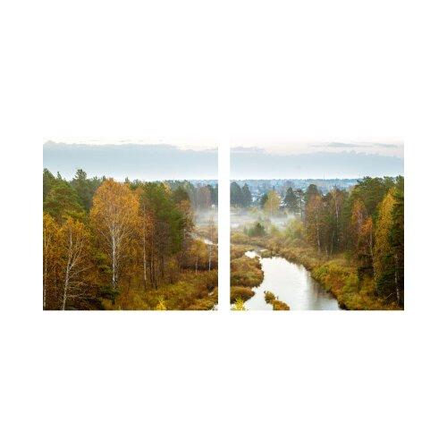 Fluss 50x50cm 2 Glasbilder Glasbild Echtglas Wandbild Deko