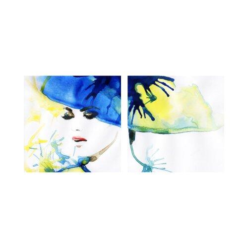 Frau 50x50cm 2 Glasbilder Glasbild Echtglas Wandbild Deko