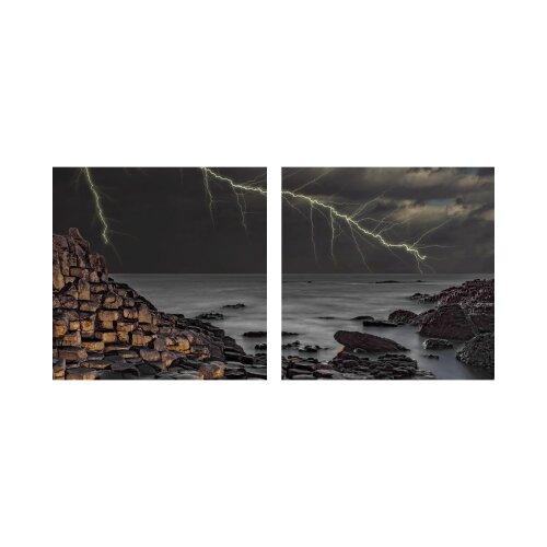 Gewitter 50x50cm 2 Glasbilder Glasbild Echtglas Wandbild Deko