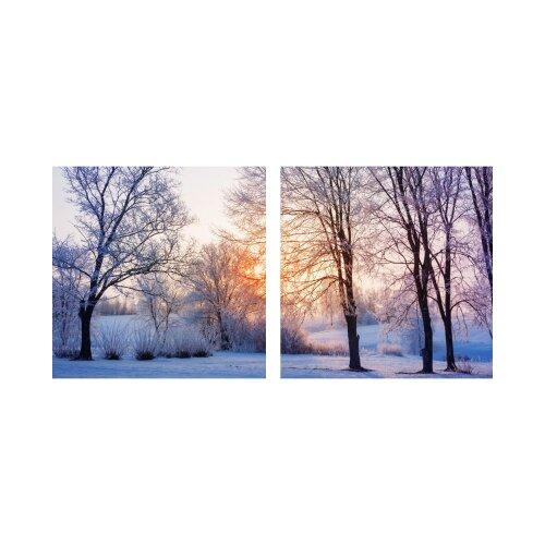 Winter 50x50cm 2 Glasbilder Glasbild Echtglas Wandbild Deko