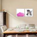 Katze 50x50cm 2 Glasbilder Glasbild Echtglas Wandbild Deko