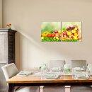 Obst 50x50cm 2 Glasbilder Glasbild Echtglas Wandbild Deko