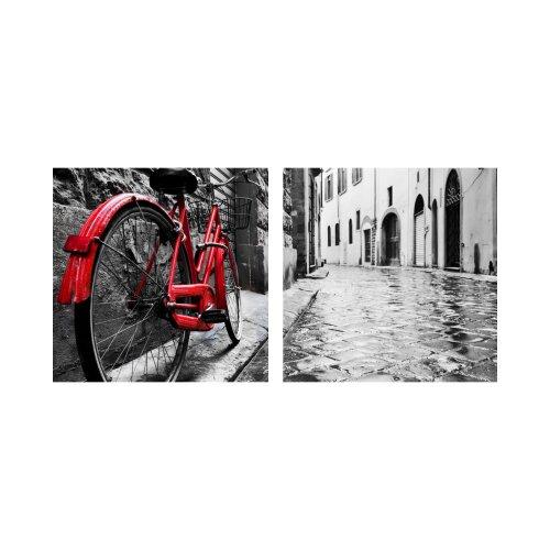 Fahrrad 50x50cm 2 Glasbilder Glasbild Echtglas Wandbild Deko