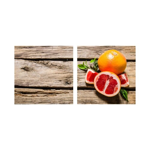 Grapefruit 50x50cm 2 Glasbilder Glasbild Echtglas Wandbild Deko