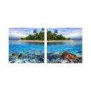 Insel 50x50cm 2 Glasbilder Glasbild Echtglas Wandbild Deko