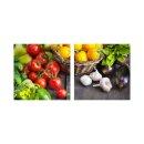 Gemüse 50x50cm 2 Glasbilder Glasbild Echtglas...