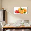 Pfirsich 50x50cm 2 Glasbilder Glasbild Echtglas Wandbild Deko