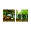 Wasserfall 50x50cm 2 Glasbilder Glasbild Echtglas...