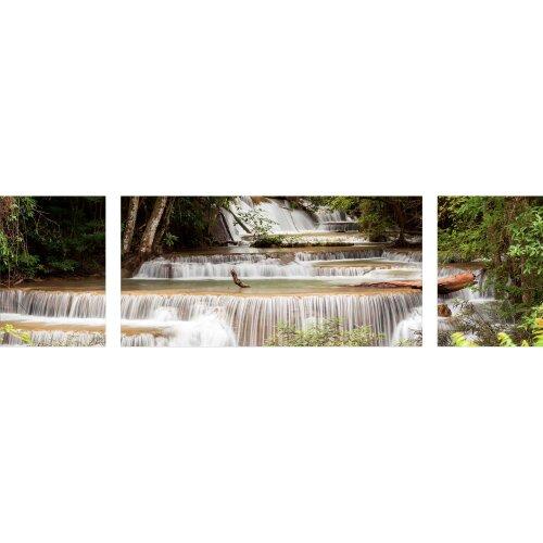 Wandbilder Glas 3 Teilig Acryl Acrylglasbilder Deko Wasserfall Braun